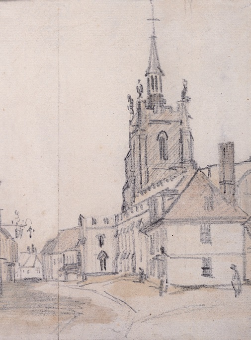 John Constable, View of St Peter's Church, Sudbury, 1814, Pencil on Paper