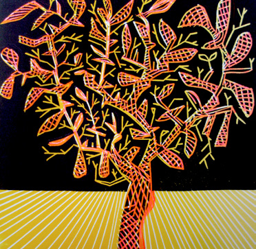 Dale Devereux Barker, Watching the Tree, Linocut