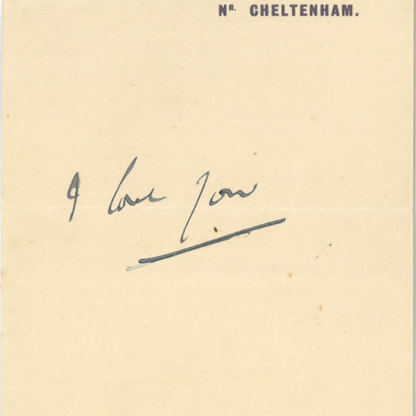 A handwritten note from Cedric to Lett saying ' I love you'