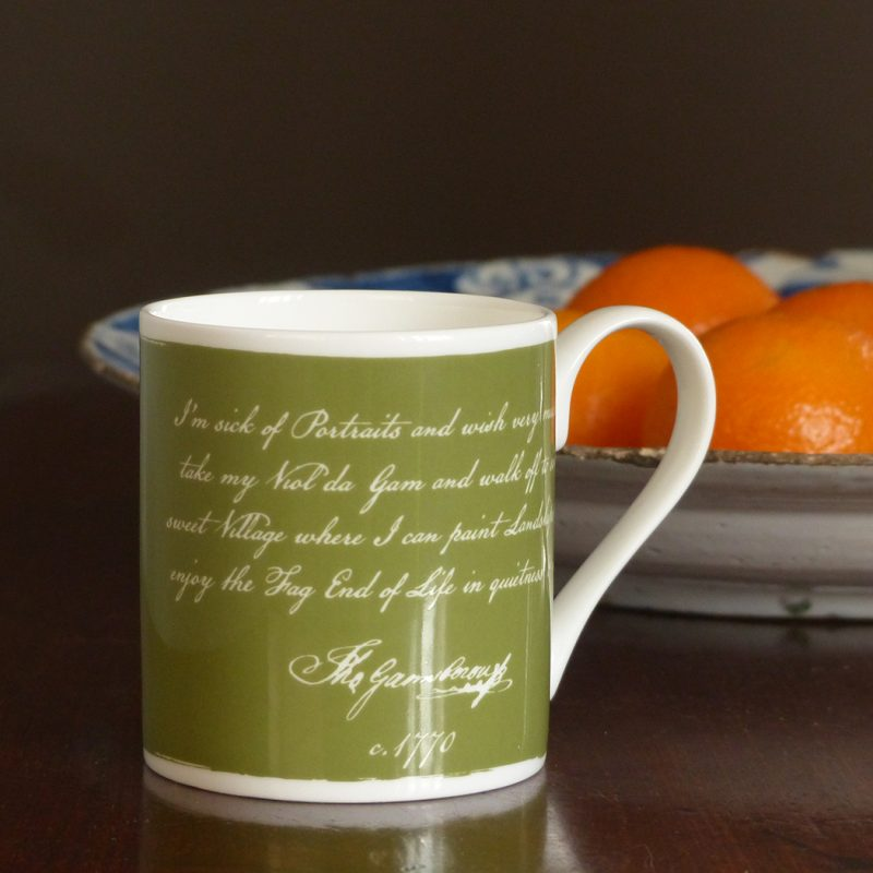 Landskips Mug in green with quote